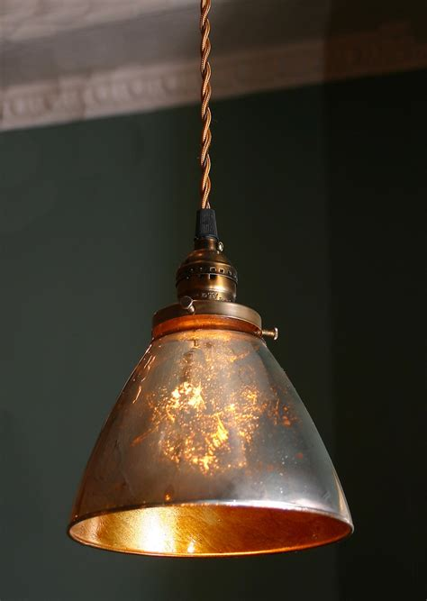 Handmade Light Shade - custom pendant light with blown mercury glass shade