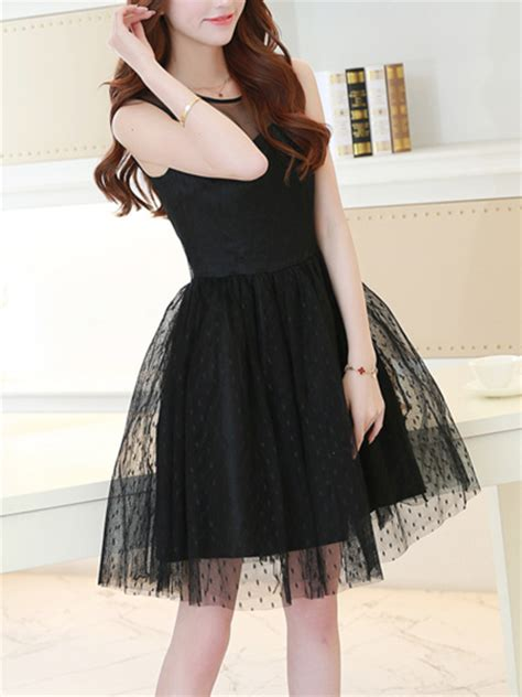 Formal Korea Dress Ds4194 Black black korean chiffon dress for cocktail casual