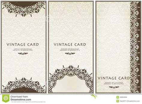 ornate card templates set of floral decor frame border stock