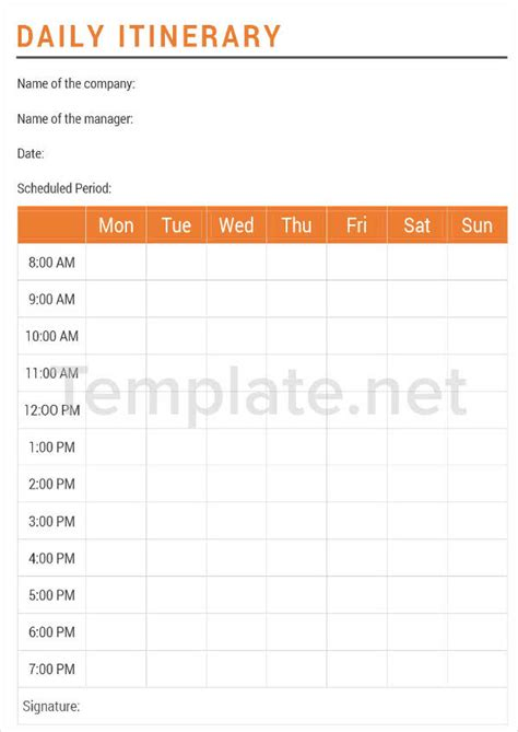 14 Itinerary Templates Free Premium Templates Vacation Daily Itinerary Template