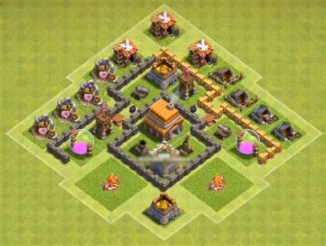 th4 layout untuk coc best th4 base for war and trophies anti giant cocbases