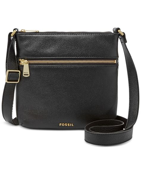 Fossil Pipper Black Large Leather Crossbody Bag Original fossil piper leather mini bag in black lyst