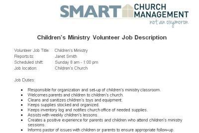 job descriptions for church positions