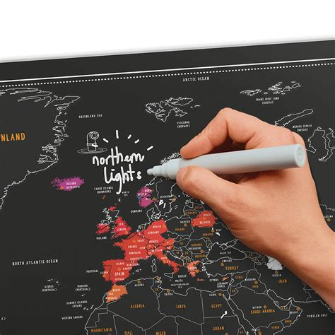 Cool Housewarming Gifts by Scratch Map 174 Chalk Edition World Map Poster Luckies Of