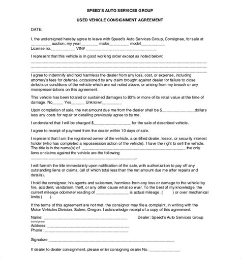 consignment agreement template free consignment agreement template 12 free word pdf
