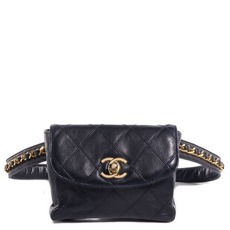 CHANEL Vintage Lambskin Diamond Stitched Flap Waist Chain