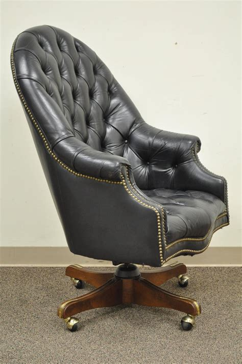 vintage deep tufted black leather english chesterfield style office desk chair  sale  stdibs