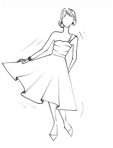 pattern drawing dress drawn gown easy pencil and in color drawn gown easy