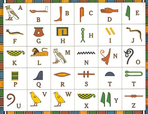 Printable Egyptian Alphabet | free coloring pages of egyptian hieroglyphs