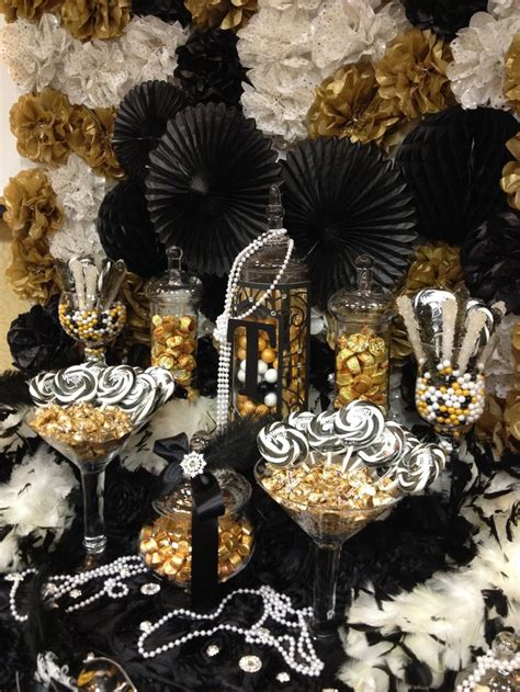 black and gold buffet ls great gatsby themed candy buffet gold black and ivory