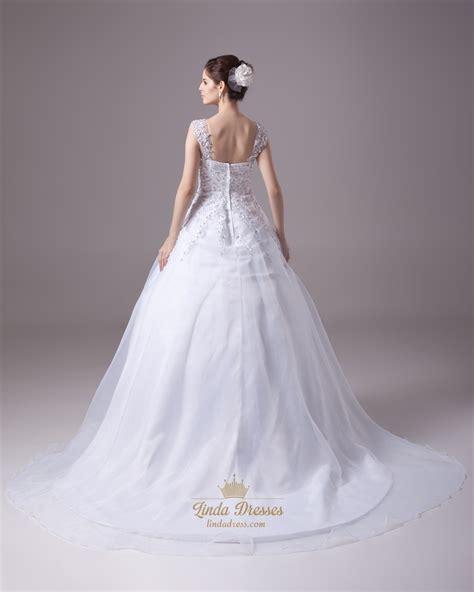 white beaded wedding dress white beaded lace applique organza a line wedding dress