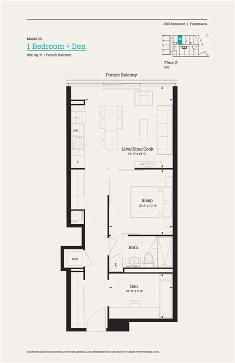 floor plan with balcony 383 sorauren floor 2 model c3 1 bedroom den 656 sq ft