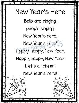 christmas and new year poems for kindergarten new year s here poem for by griffin tpt