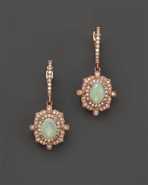 Luxury Cutlery by Opal And Diamond Antique Inspired Drop Earrings In 14k