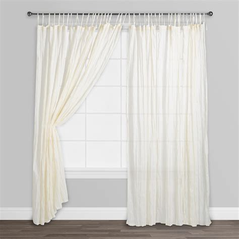 white crinkle sheer curtains natural crinkle voile cotton curtains set of 2 white