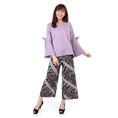 Blouse Terompet Batik Katun celana kulot motif 1 update daftar harga terbaru