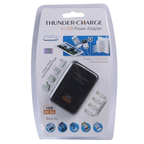 Thunder Traveler Charger 4 Usb Port 5v 2a With Single Eu Plugs thunder traveler charger 4 usb port 5v 2a with 4 interchangeable plugs white jakartanotebook