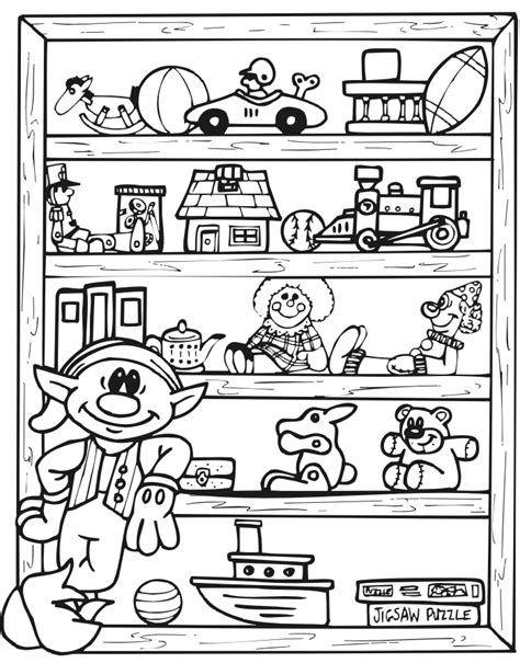 toys coloring pages preschool printable christmas coloring page of an elf and toy shlef
