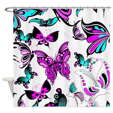 purple and teal bathroom teal and purple butterflies shower curtain by ibeleiveimages