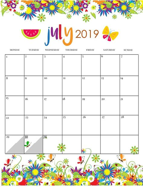 cute july  calendar pink designs floral wall calendar  images summer calendar kids