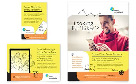 Ad Illustration Caricatures Real Estate Business Cards Templates by Social Media Consultant Flyer Ad Template Design