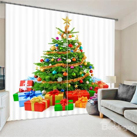 christmas curtain panels christmas tree print energy saving 3d curtain beddinginn com