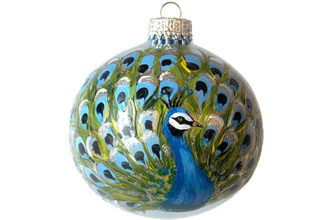 hand painted christmas ornament glass ball peacock bird hand