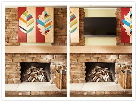How To Make A Fireplace by How To Make Artwork To Hide Big Screen Flat Tv Above