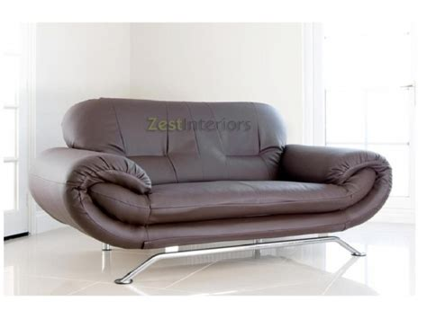 Florence Brown 2 Seater Faux Leather Modern Sofa Brown 2 Seater Leather Sofa