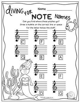 Treble Clef Note Name Worksheet by Worksheets Treble Clef Note Names By Lindsay
