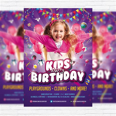 kids birthday party invitation premium flyer template
