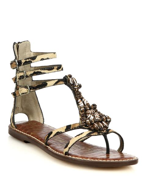 sam edelman leopard sandals sam edelman giada beaded leopard print calf hair sandals