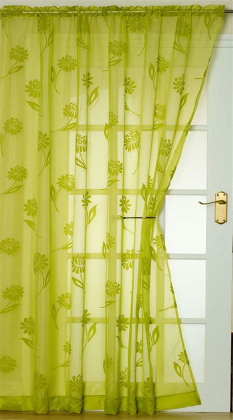 Lime Green Curtains Slot Top Flock Voile Panel Vibrant Floral Door Window Net Curtain Lime Green Ebay