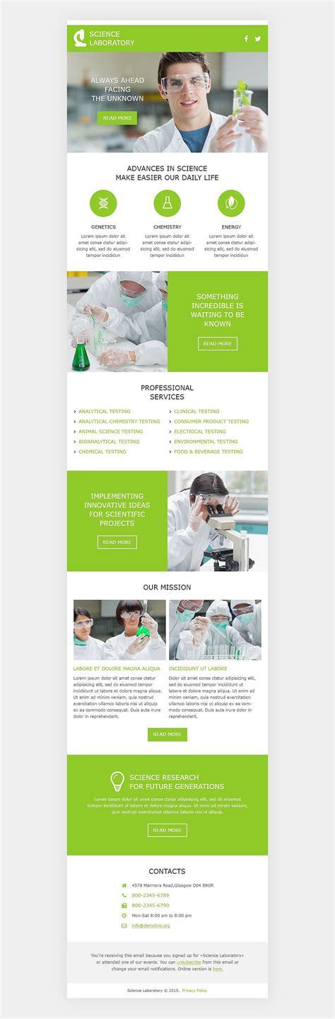 responsive newsletter template science lab responsive newsletter template 53103