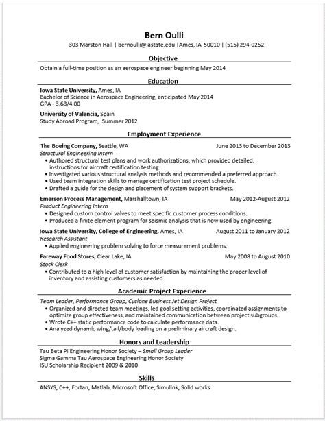 Resume Skills Engineering Exle Resumes Engineering Career Services Iowa State