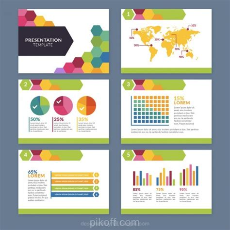 eps format ppt ai colored hexagonal business presentation vector free