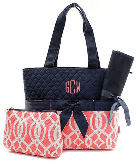monogrammed quilted diaper bag personalized