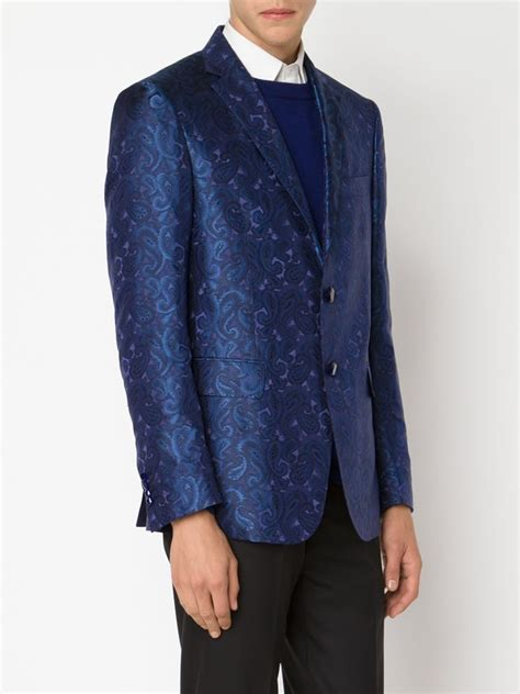 blue patterned blazer etro paisley pattern blazer in blue for men lyst