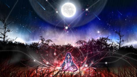 wallpaper anime magic anime girls magic circles moon night time violet hair