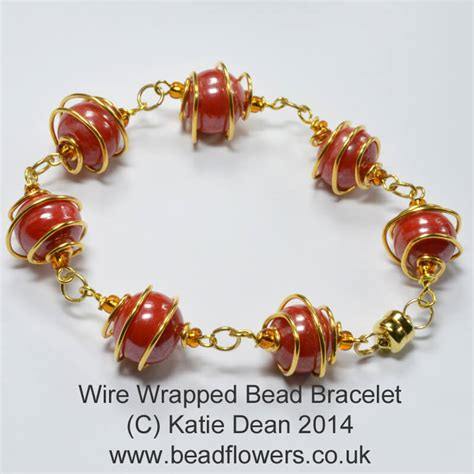 beading wire bracelet wire wrapped bead bracelet tutorial dean beadflowers