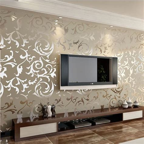 Wallpaper Sticker Roll 10m 72 silver gold wall paper wallpaper roll damask embossed