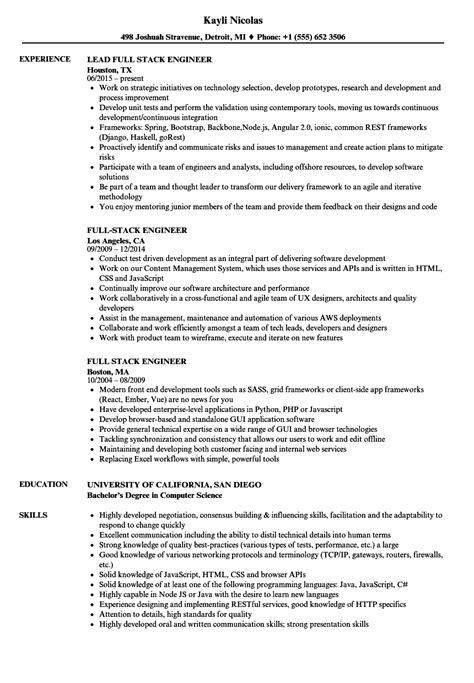 stack engineer resume sles velvet