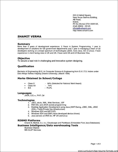 Resume Format For Experienced by Resume Format For Experienced It Professionals Doc Free