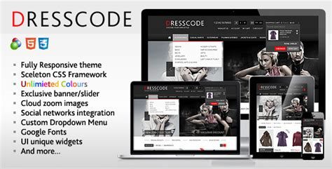 themeforest oscommerce ecommerce dresscode responsive oscommerce theme