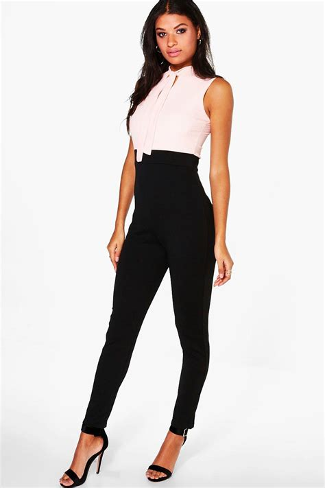 ebay jumpsuit boohoo womens tie neck tailored jumpsuit ebay