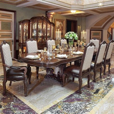 aico palace rectangular dining room set in light