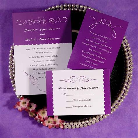 Purple Wedding Invitations by Simple White And Purple Wedding Invitations Ewi027 As Low