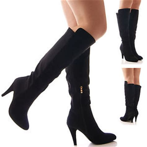 womens black elastic wide fit stretch high heel