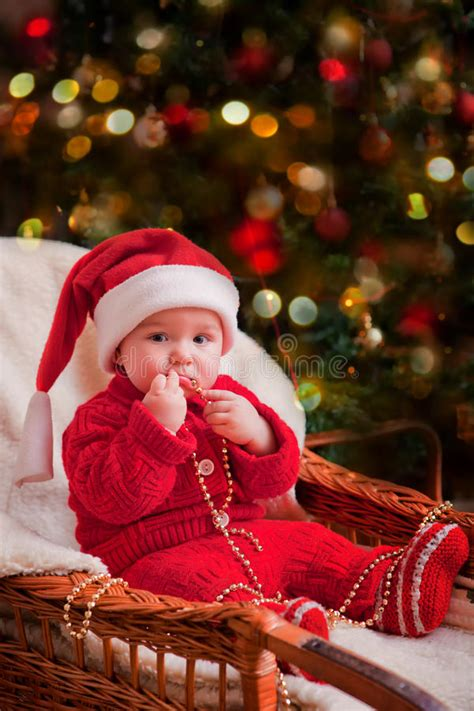 christmas baby portrait stock image image of care