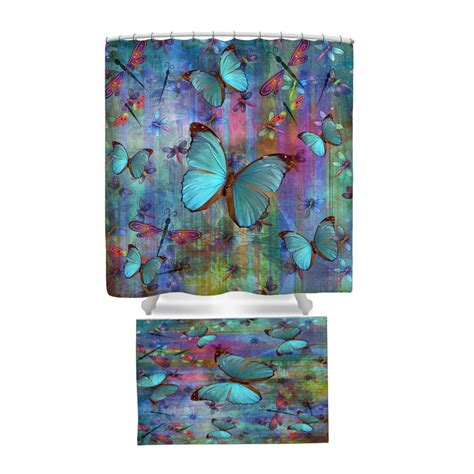 boho shower curtains boho chic dragonfly butterfly shower curtain rug by